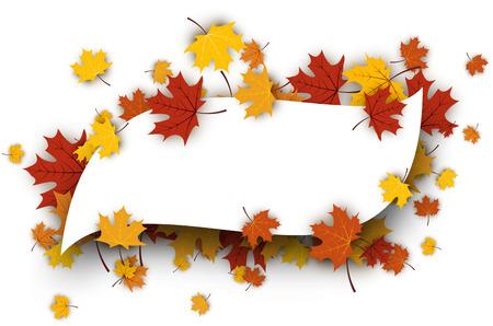 autumn colour: Autumn figured background with golden maple leaves. Vector paper illustration. Illustration