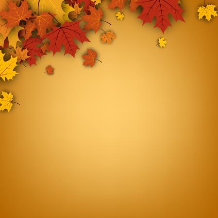 maple leaves: Autumn orange background with golden maple leaves. Vector paper illustration. Illustration