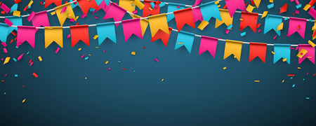 Blue banner with garland of colour flags and confetti. Vector illustration. Vectores