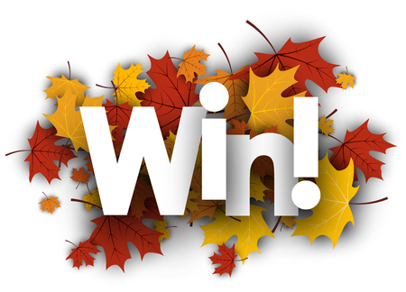 Win autumn background with golden maple leaves. Vector illustration.