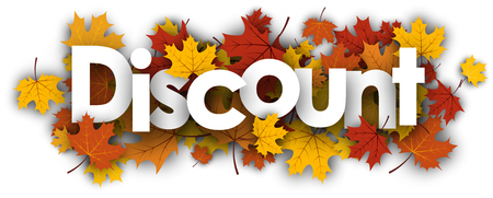 Discount autumn banner with golden maple leaves. Vector illustration.