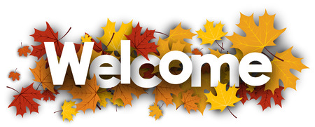 Welcome autumn banner with golden maple leaves. Vector illustration.