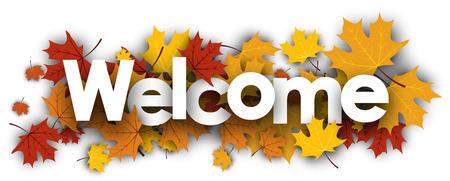 Witamy jesień transparent ze złotymi liśćmi klonu. ilustracji wektorowych.