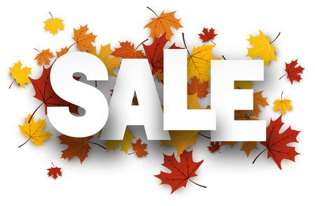 Sale white background with golden maple leaves. Vector paper illustration. Illustration