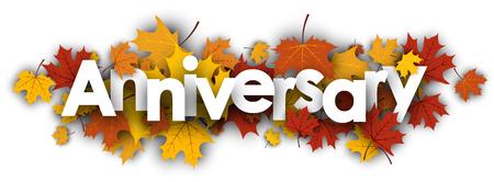 maple leaves: Anniversary autumn banner with golden maple leaves. Vector illustration. Illustration