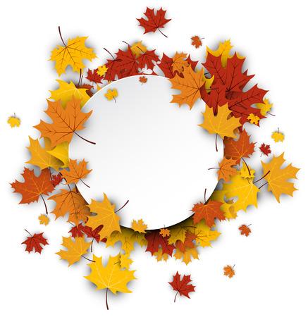 ronda fondo de otoño con hojas de oro de arce. Vector ilustración de papel.