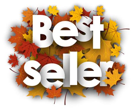 maple leaves: Best seller white background with golden maple leaves. Vector illustration.