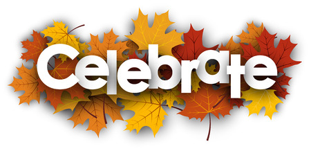 mirth: Celebrate white background with golden maple leaves. Vector illustration.