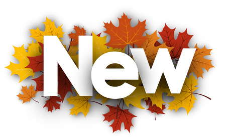 New white background with golden maple leaves. Vector illustration. Illustration