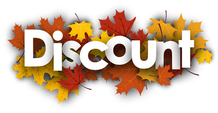 Discount autumn background with golden maple leaves. Vector illustration.