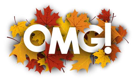 maple leaves: Omg paper banner with golden maple leaves. Vector illustration.