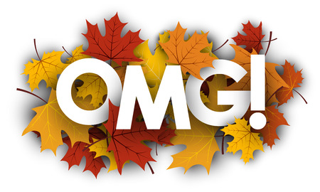 Omg paper banner with golden maple leaves. Vector illustration.