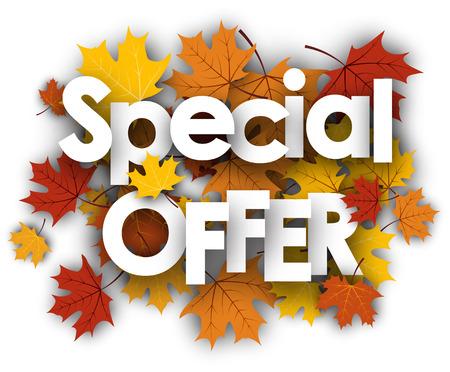 fondo blanco oferta especial con hojas de oro de arce. Ilustración del vector.