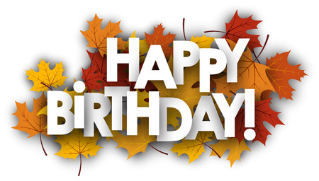 maple leaves: Happy birthday card with golden maple leaves. Vector paper illustration. Illustration