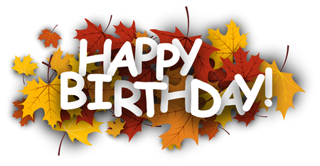 bannière Joyeux anniversaire avec des feuilles d'érable d'or. Vector papier illustration.