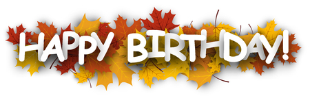 maple leaves: Happy birthday banner with golden maple leaves. Vector paper illustration.