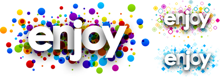 enjoy: Enjoy colour banners set. Vector paper illustration.