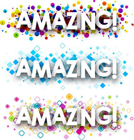 positive feelings: Amazing color banners set. Vector paper illustration. Illustration
