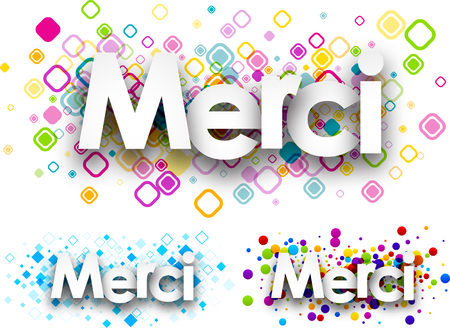 french text: Thanks colour banners set, French. Vector paper illustration. Illustration