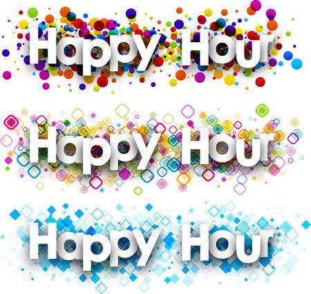 happy hours: Happy hour colour banners set. Vector paper illustration. Illustration