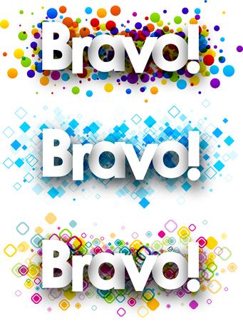 bravo: Bravo colour banners set. Vector paper illustration.