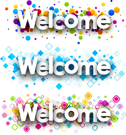 opening party: Welcome color banners set. Vector paper illustration.