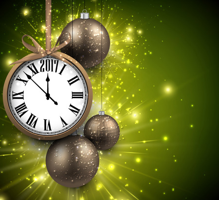 chiming: 2017 New Year green background with clock and balls. Vector illustration.