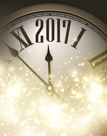 new year poster: 2017 New Year shining background with clock. Vector illustration.