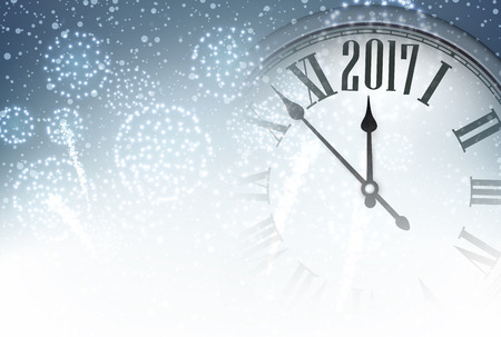 time of the year: 2017 New Year background with clock and fireworks. Vector illustration.
