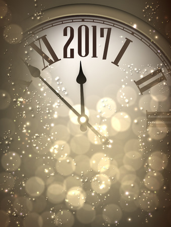 new year poster: 2017 New Year sepia background with clock. Vector illustration.