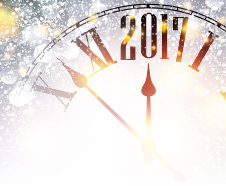 cover background time: 2017 New Year shining background with clock. Vector illustration.