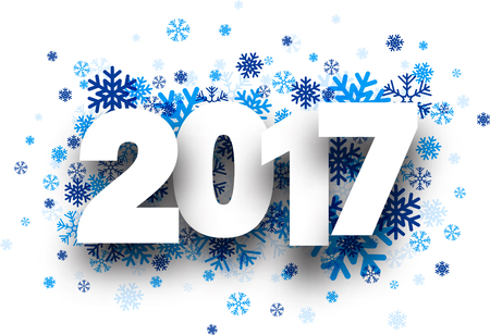 text year: 2017 New Year background with blue snowflakes. Vector paper illustration.