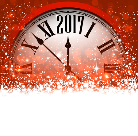 chiming: 2017 New Year red background with clock and snow. Vector illustration.