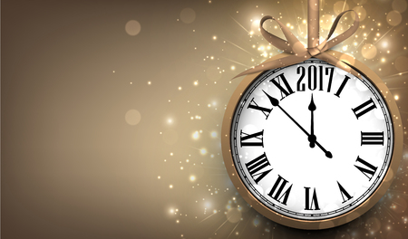 celebrate year: 2017 New Year sepia background with clock. Vector illustration.