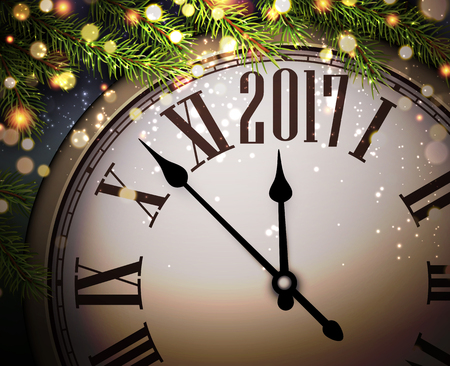 celebrate year: 2017 New Year background with clock and fir branches. Vector illustration.