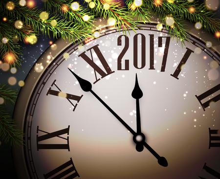 2017 New Year Hintergrund mit Uhr und Tannenzweigen. Vektor-Illustration. Illustration