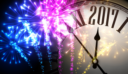 new year celebration: 2017 New Year background with clock and colorful fireworks. Vector illustration. Illustration