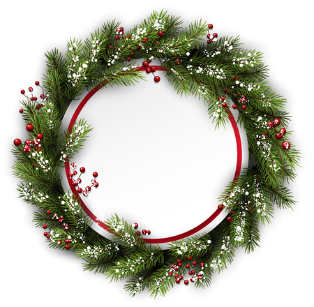snow wreath: Christmas wreath with holly and snowflakes. Vector illustration. Illustration