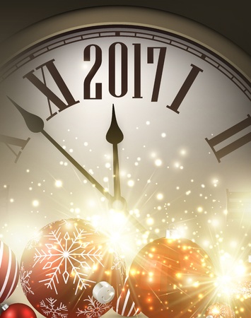 new year poster: 2017 New Year background with clock and balls. Vector illustration. Illustration
