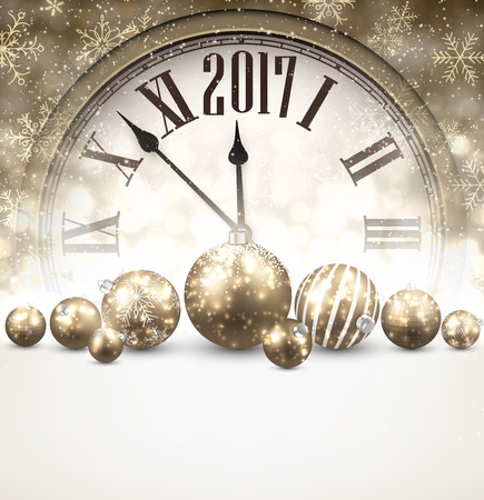 new year poster: 2017 New Year luminous background with clock and balls. Vector illustration.