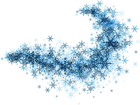 whirl: White winter background with vortex of blue snowflakes. Vector illustration.
