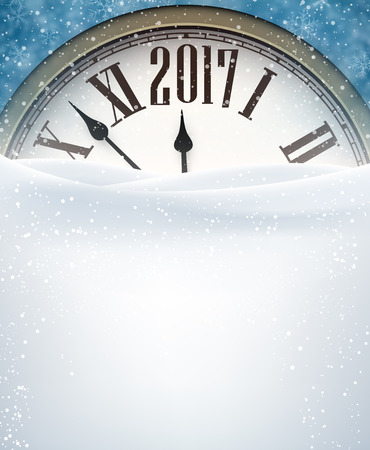 chiming: 2017 New Year blue background with clock and snow. Vector illustration.