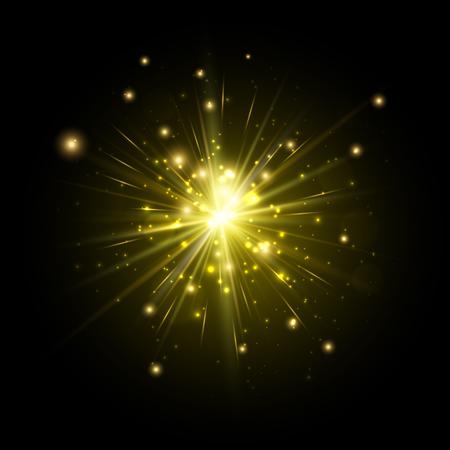 amarillo y negro: Yellow firework flash isolated on black background. Vector illustration.