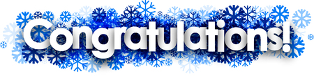 congratulations banner: White congratulations banner with blue snowflakes. Vector illustration.
