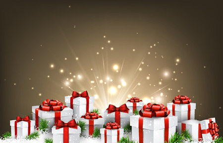 congratulation: Christmas background with gifts and snow. Vector illustration.