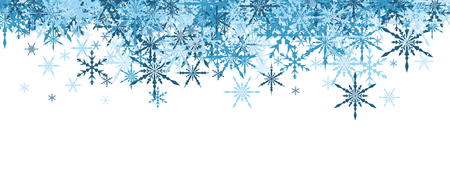 blue snowflakes: White winter banner with blue snowflakes. Vector illustration.