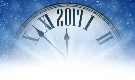 new years background: 2017 New Year blue background with clock and snow. Vector illustration.