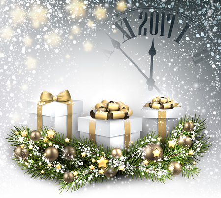 hristmas: 2017 New Year background with clock, gifts and snow. Vector illustration. Illustration