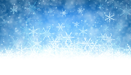 wintery: Blue winter background with snowflakes. Vector illustration.