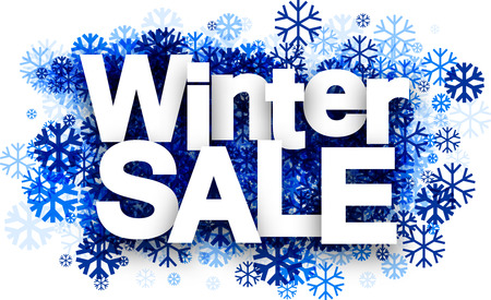 White winter sale background with blue snowflakes. Vector illustration. Stock Illustratie